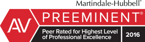 Martindale-Hubbell AV Preeminent - Peer Rated for Highest Level of Professional Excellence - 2016